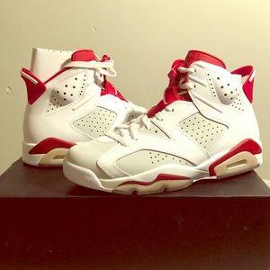 Air Jordan 6 Retro - white/ gray/ red size 8 men